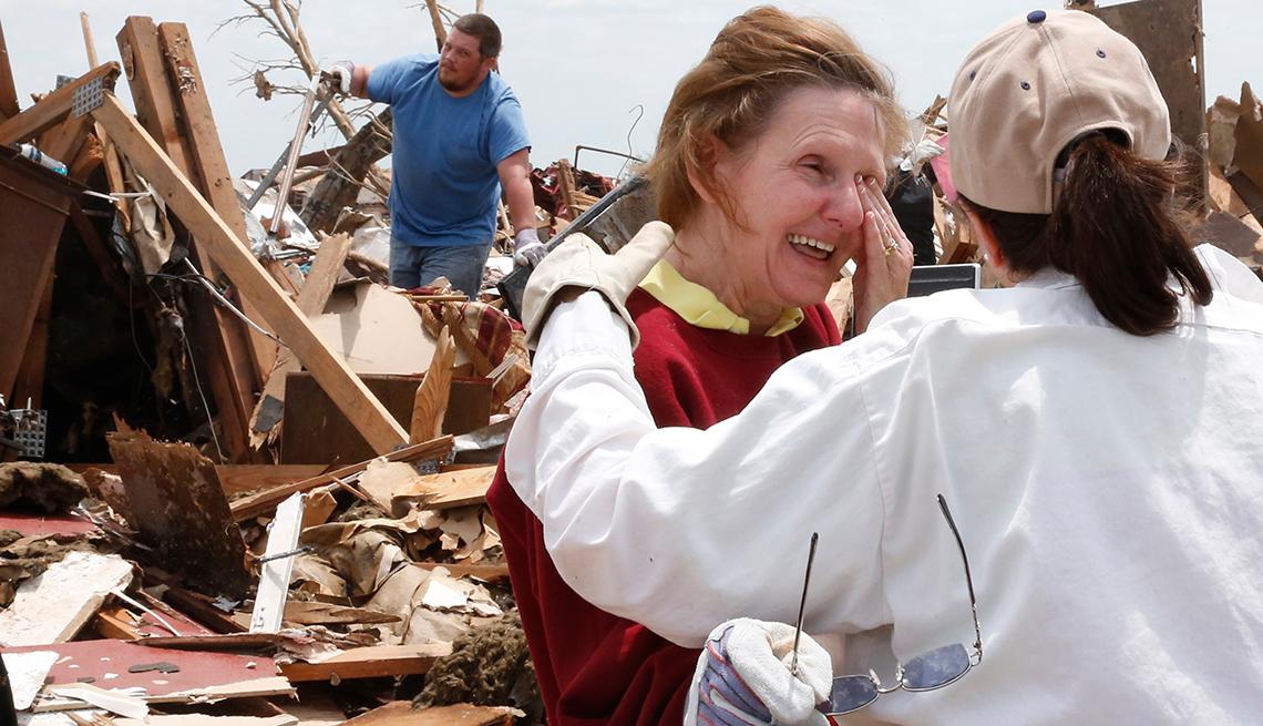 Christine Jones, Ann Worden, crying, demolished home, Moore, Oklahoma, Tornado, AARP Foundation, Disaster Relief