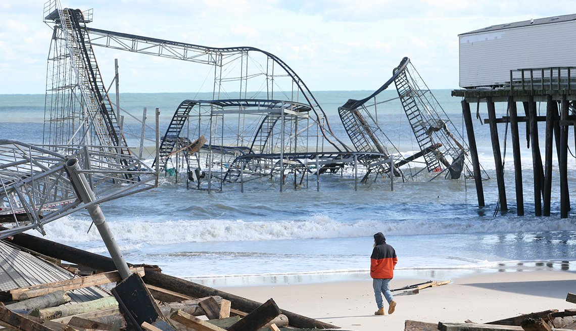 Superstorm Sandy, Casino Pier, damage, Seaside Heights, New Jersey, AARP Foundation, Disaster Relief