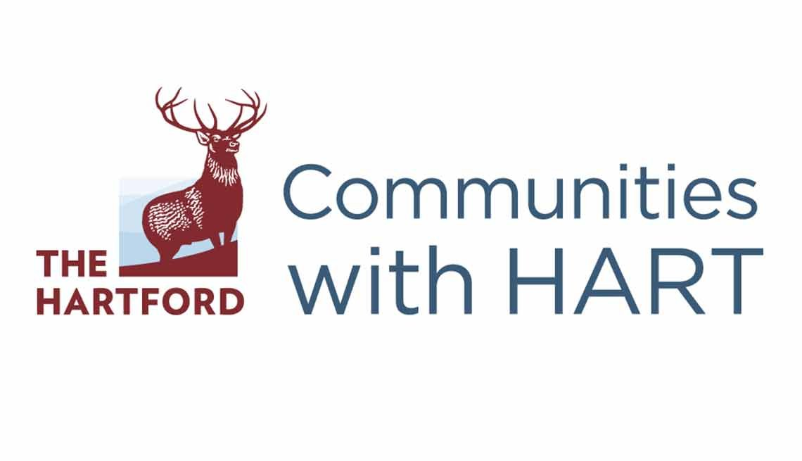 The Communities with Hart logo, AARP Foundation, The Hartford