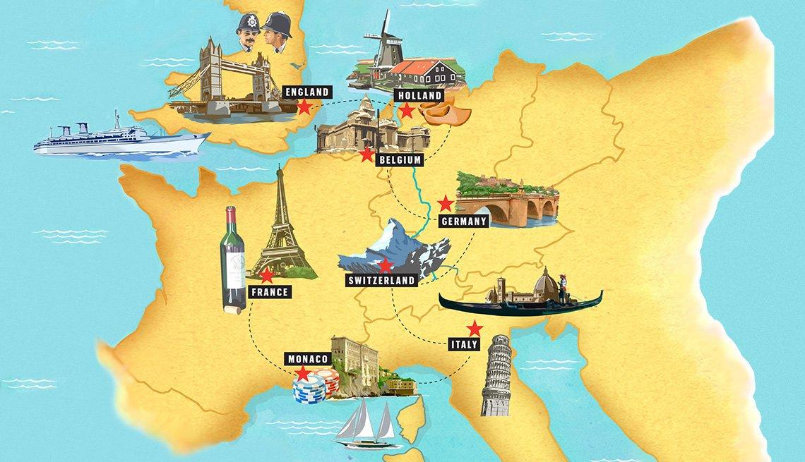 Mapa de Europa con puntos de interés marcados según cada ciudad.