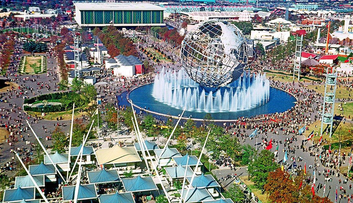 Foto panorámica de la Feria Mundial en 1964