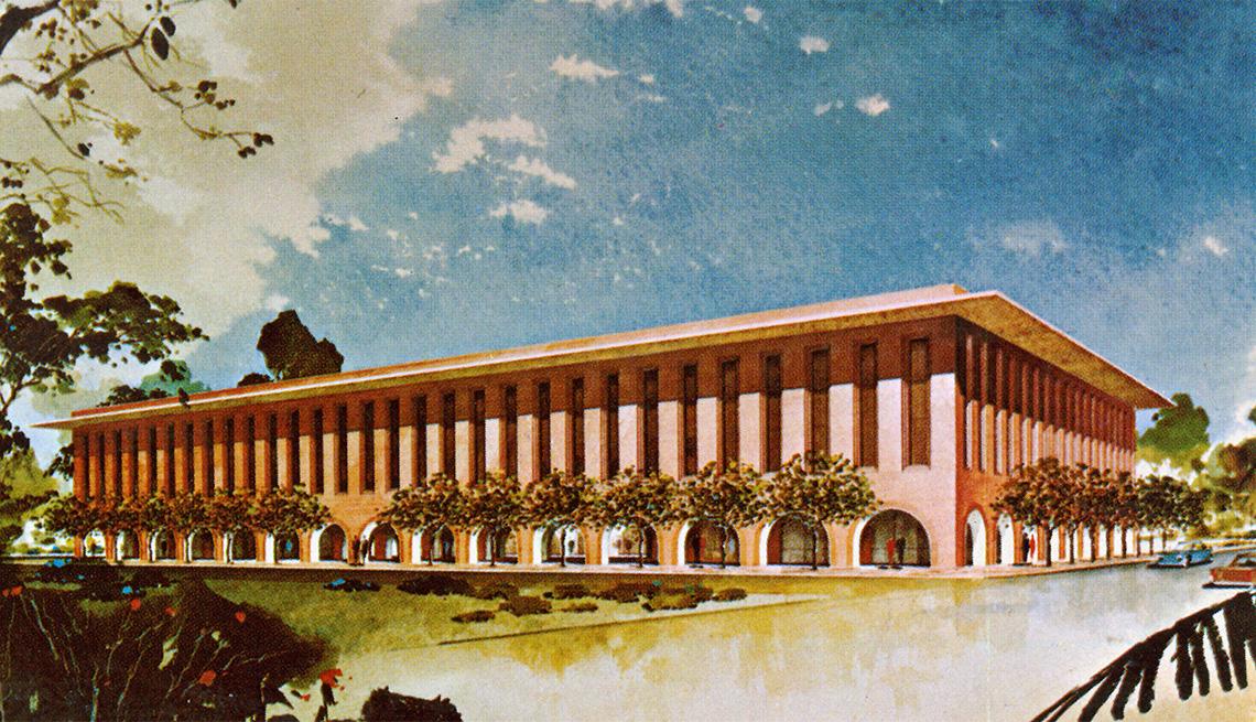 item 6 of Gallery image - Ilustración de la fachada de un edificio rectangular con arcos a lo largo del primer piso.