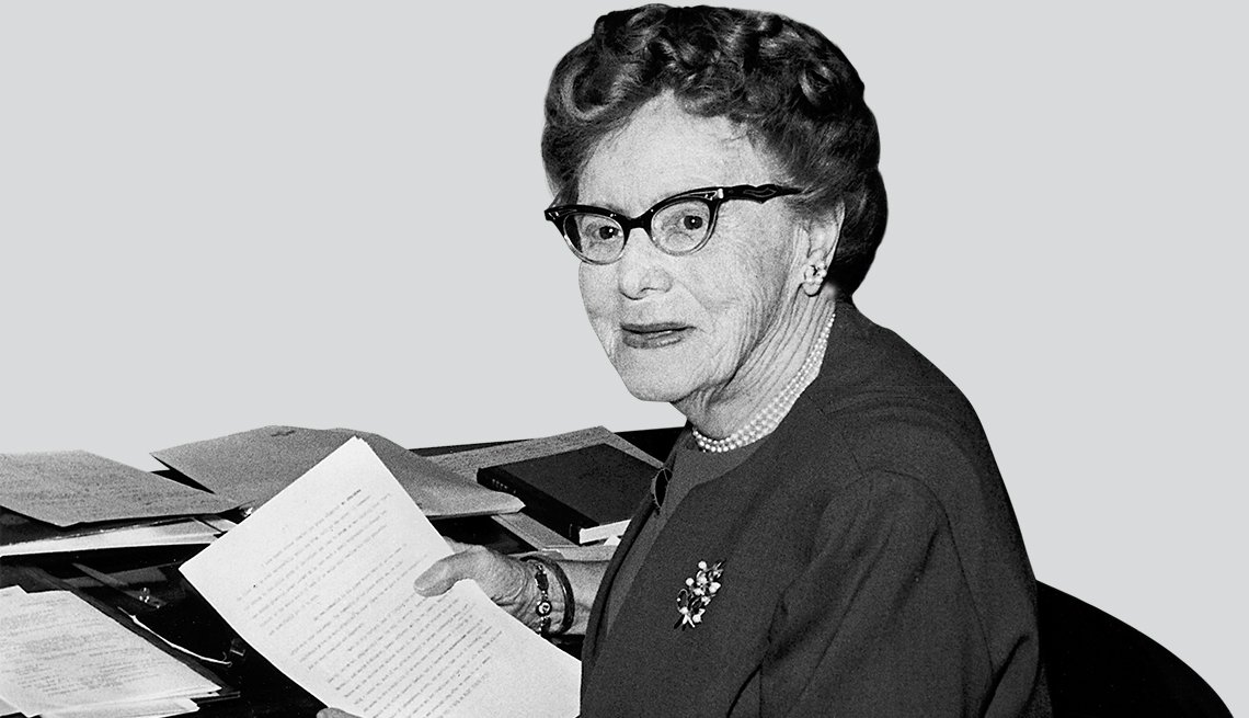 Ethel Percy Andrus holding papers