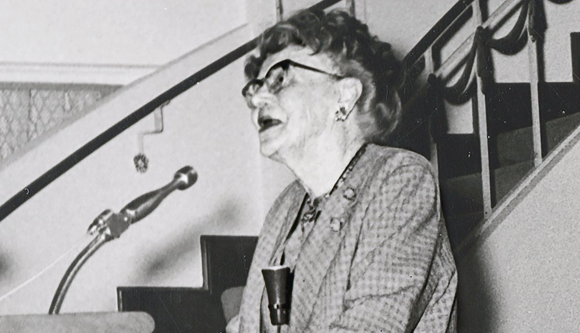 Dr. Ethel Percy Andrus standing at podium