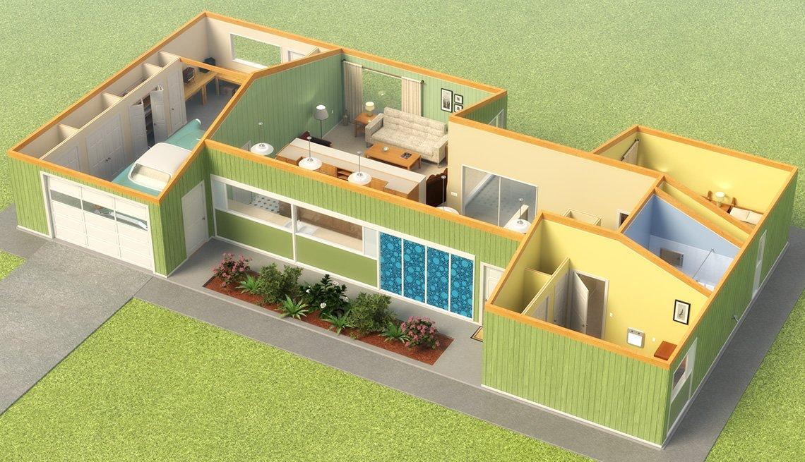 Ilustración de un modelo digital de una casa con diseño universal.