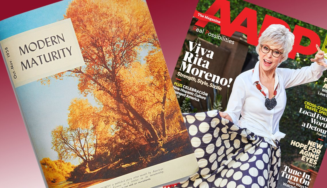 Revista antigua, Modern Maturity, al lado de la revista actual, AARP The Magazine, con Rita Moreno en la portada