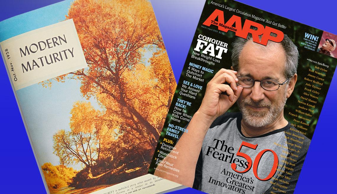 item 10 of Gallery image - Comparasión de portadas de revistas entre Modern Maturity y AARP The Magazine, con paisaje de árboleda y foto del cineastra, Steven Spielberg, respectivamente.