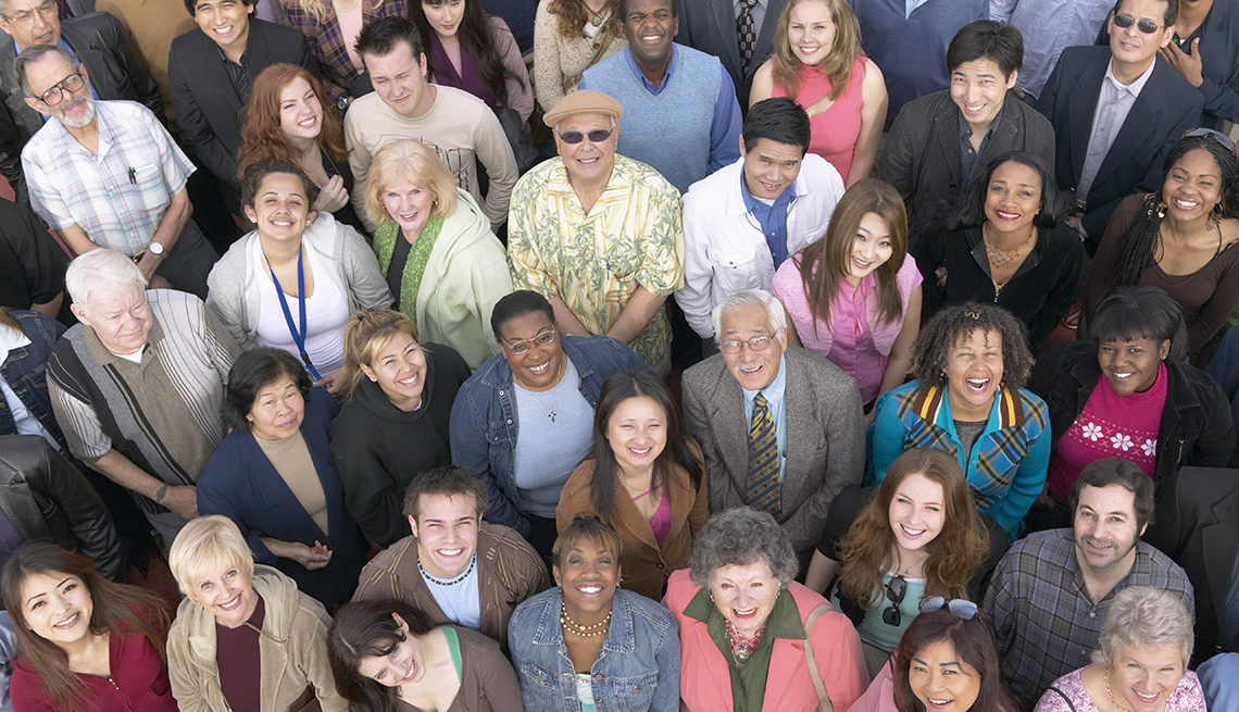 Overhead view of a large diverse group of people