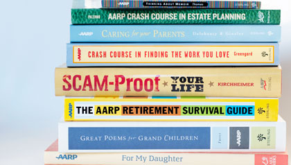 stack of AARP books