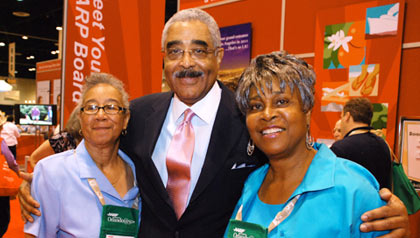 Barry Rand and AARP members Rosa Howell of Atlanta, GA and Hattie Shipp of College Park, GA, at the AARP Member Event in Orlando, FL, 2010.