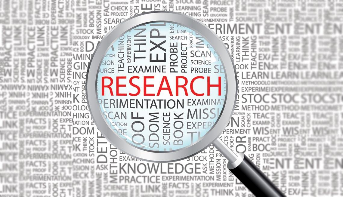 """Imagen con varios textos y una lupa resaltando la palabra """"research"""""""