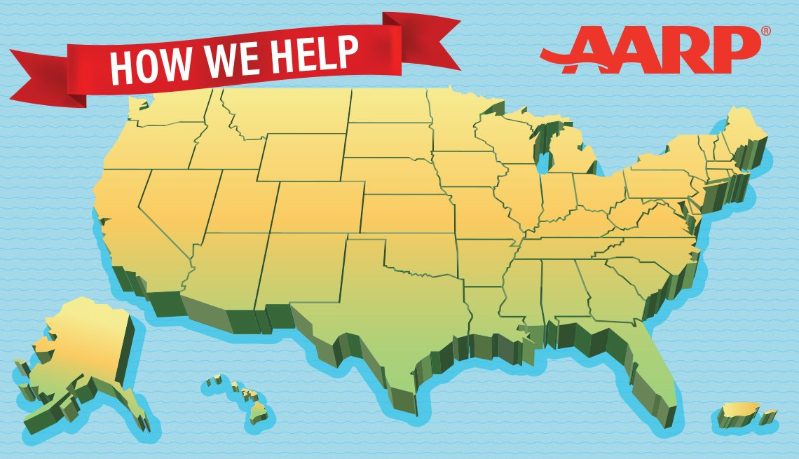 map of the united states with AARP logo and banner that says How We Help