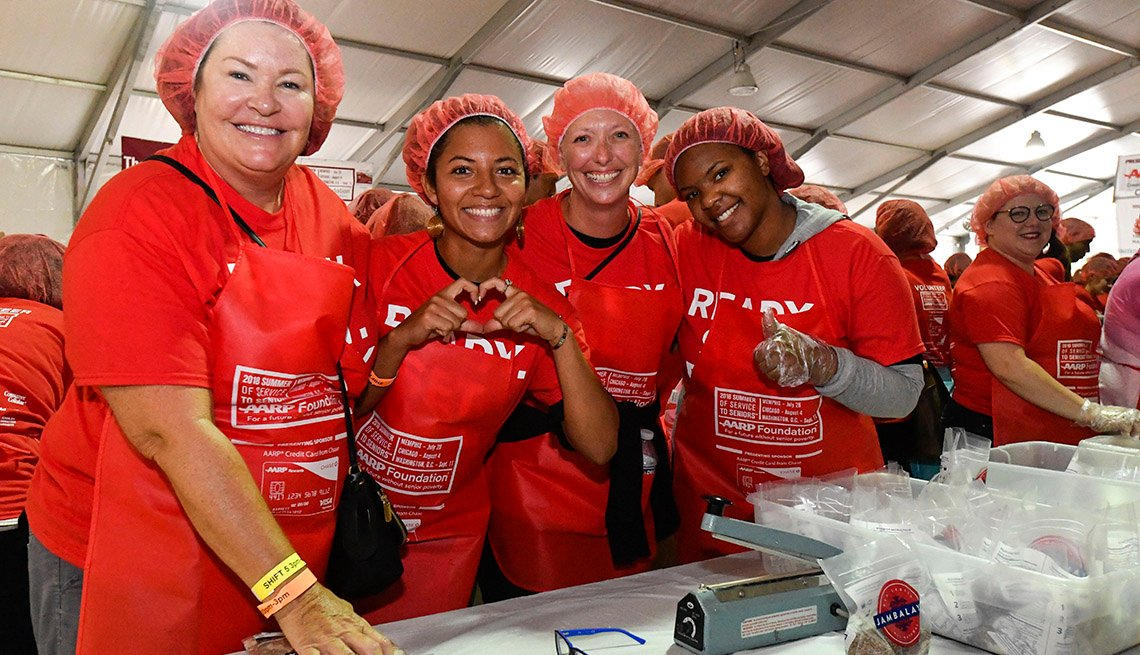 AARP volunteers at a Million Meals event
