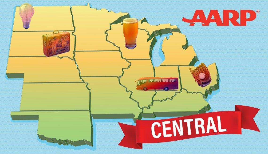 AARP's central region includes the states Illinois, Indiana, Iowa, Kansas, Kentucky, Michigan, Minnesota, Missouri, Nebraska, North Dakota, Ohio, Oklahoma, South Dakota, and Wisconsin
