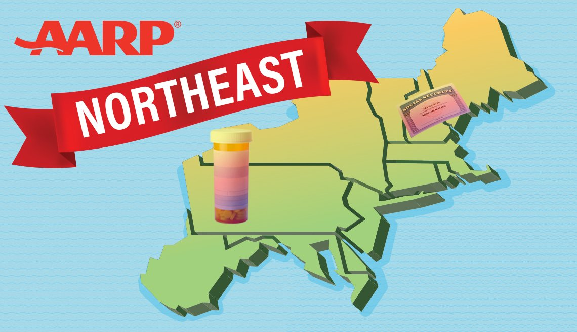 AARP's Northeast region includes Connecticut, Delaware, the District of Columbia, Maine, Maryland, Massachusetts, New Hampshire, New Jersey, New York, Pennsylvania, Rhode Island, Vermont, and West Virginia