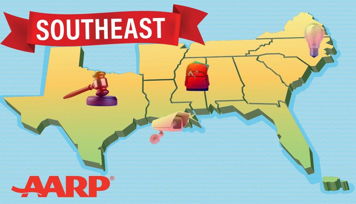 AARP's Southeast states region includes Alabama, Arkansas, Florida, Georgia, Louisiana, Mississippi, North Carolina, Puerto Rico, South Carolina, Tennessee, Texas, Virginia and the US Virgin Islands