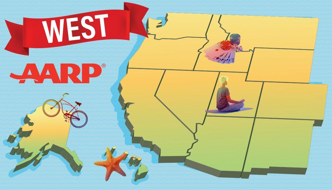 aarp's western region of states - Alaska, Arizona, California, Colorado, Hawaii, Idaho, Montana, Nevada, New Mexico, Oregon, Utah, Washington, and Wyoming