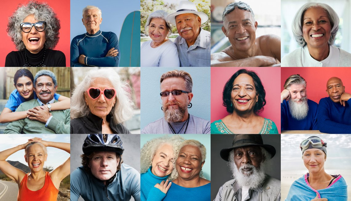 collage of  19 varied and diverse vibrant people over 50