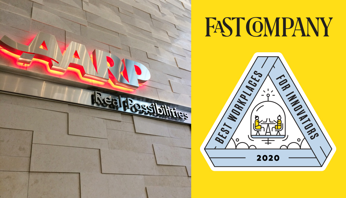 a sign on a building that says a a r p real possibilities and the fast company best workplaces for innovators logo