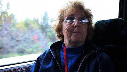 AARP member Jane Bernard rides bus to DC-Seniors protest cuts to Social Security benefits
