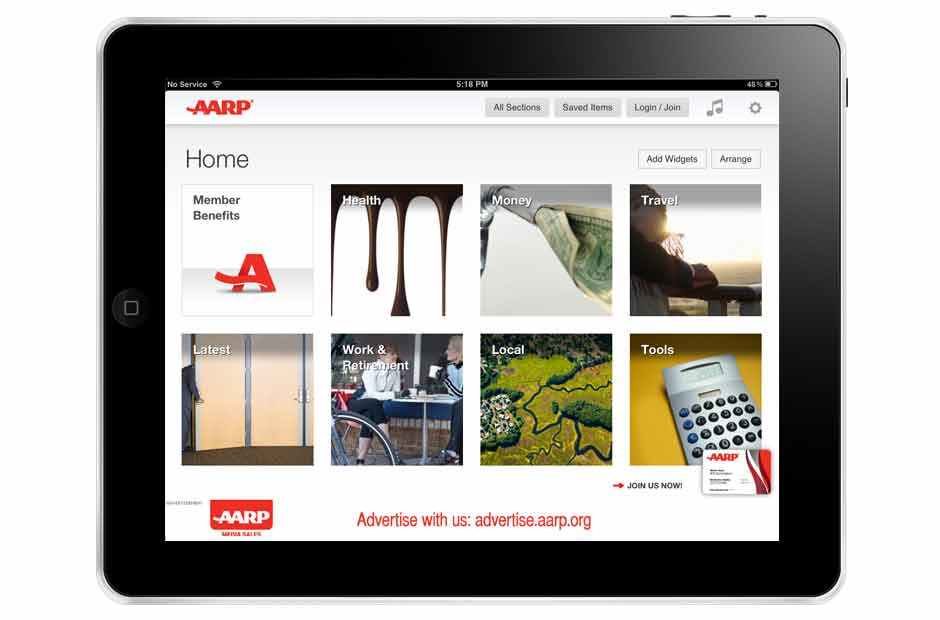 iPad with AARP iPad app on screen