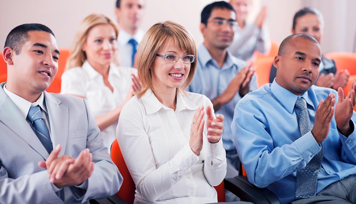 Adults Applaud, Indoor Meeting, Business Dress, NRTA AARP Educator Support, Leadership Training