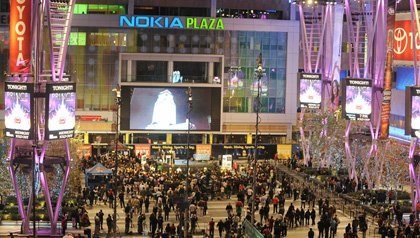 Nokia plaza Los Angeles people gathering at night