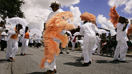Paraders celebrate Louis Armstrong's birthday in New Orleans, LA