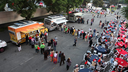 Food trucks serve AARP members-2011 AARP Life@50+ event in Los Angeles, California