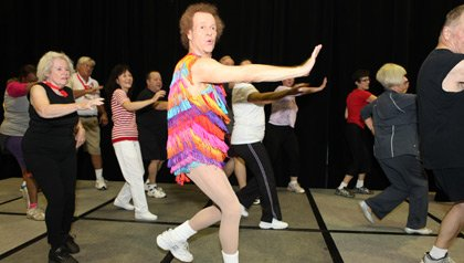 Richard Simmons leads exercise class at the Life@50+ AARP member event in Los Angeles; 9/2011.