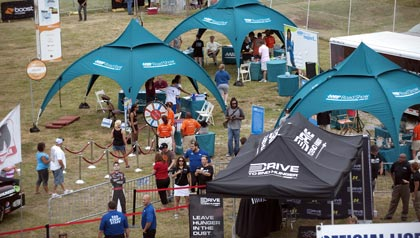 An aerial view of the AARP Roadshow at the Lucas Oil Raceway in Indianapolis, IN on July 29, 2011