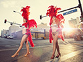 Activities in Las Vegas, Nevada- two showgirls walk the street in Las vegas
