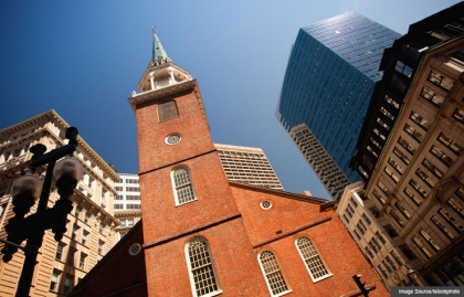 Old South Meeting House - Vista histórica de El recorrido de la libertad, Boston, Estados Unidos.