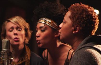 Three women singing, Twenty Feet from Stardom, AARP Movies for Grownups, Life@50 Las Vegas