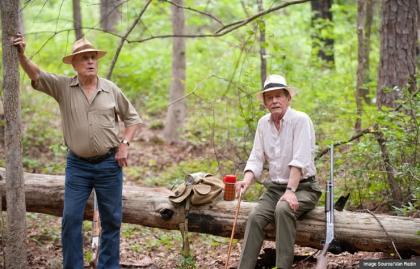 Two men in woods, Jayne Mansfield's Car, AARP Movies for Grownups, Life@50 Las Vegas