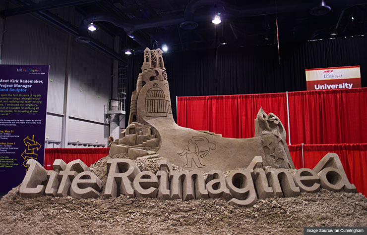 Life Reimagined sand castle created by Kirk Rademaker.