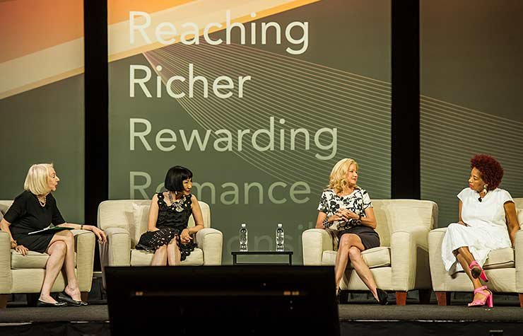 Amy Tan, Candace Bushnell and Terry McMillan appearing with Myrna Blyth at the Spring 2013 Life@50+ event in Las Vegas
