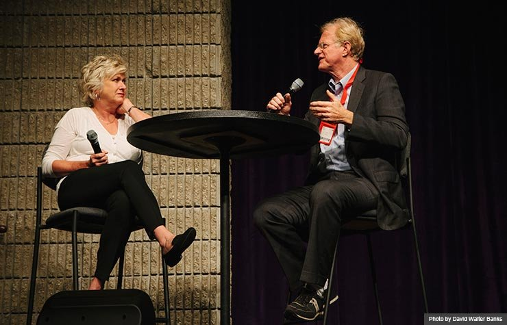 'Muhammad Ali's Greatest Fight' was screened at the 2013 Life@50+ Atlanta Movies for Grownups Film Festival. One of the film's stars, Ed Begley, Jr. (right) was interviewed by Meg Grant, AARP West Coast Entertainment Editor (left), for the audience after the screening . (Photo by David Walter Banks)