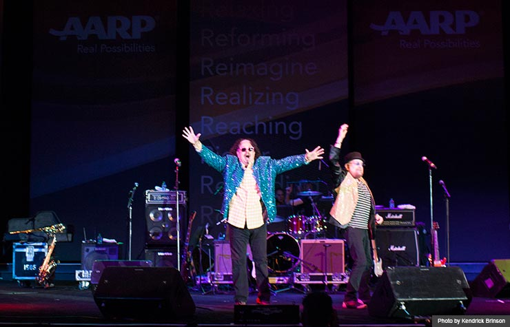 The Turtles featuring Flo and Eddie performing as part of the Happy Together Tour dance party during the Life@50+ National Event & Expo in Atlanta. (Photo by Kendrick Brinson)