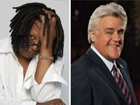 Whoopi Goldberg and Jay Leno (Timothy White/Photo by Mitchell Haaseth © NBC Universal, Inc.)