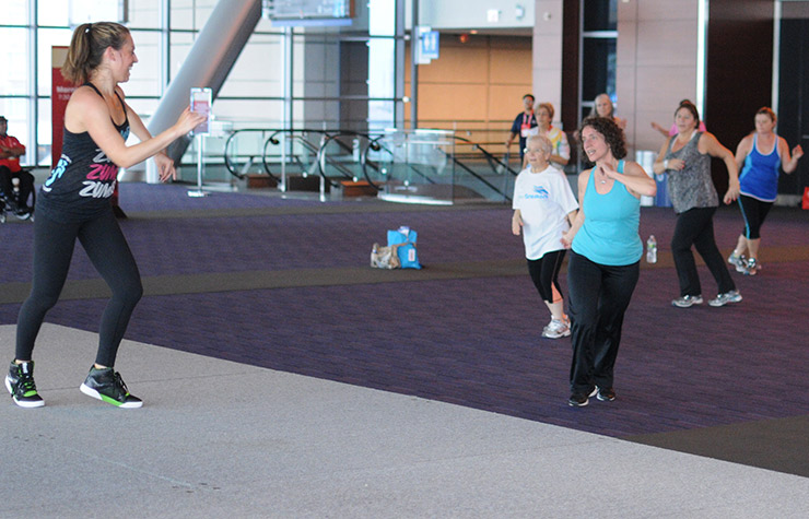 Ali Baldassare led morning fitness at the Life@50+ National Event & Expo in Boston.