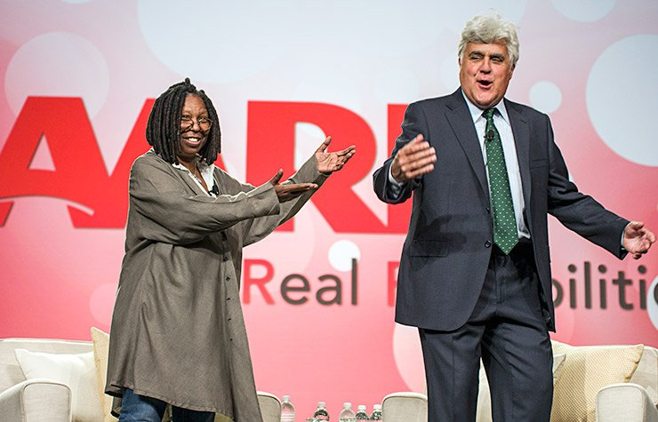 Whoopi Goldberg and Jay Leno appeared at the Life@50+ National Event & Expo in Boston.