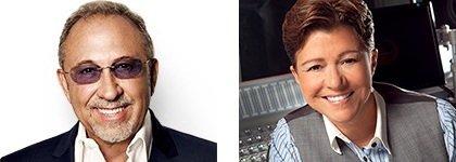 Emilio Estefan and Tena Clark judging the Superstar 2015 finals at Life@50+ in Miami.