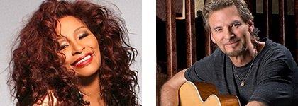 Chaka Khan and Kenny Loggins judging the Superstar 2015 finals at Life@50+ in Miami.