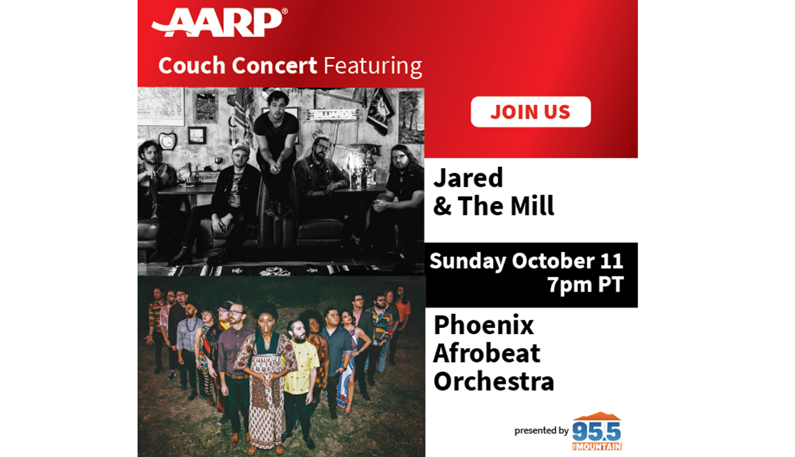 a a r p couch concert featuring Jared and the mill and phoenix afrobeat orchestra sunday october eleven at seven p m pacific time