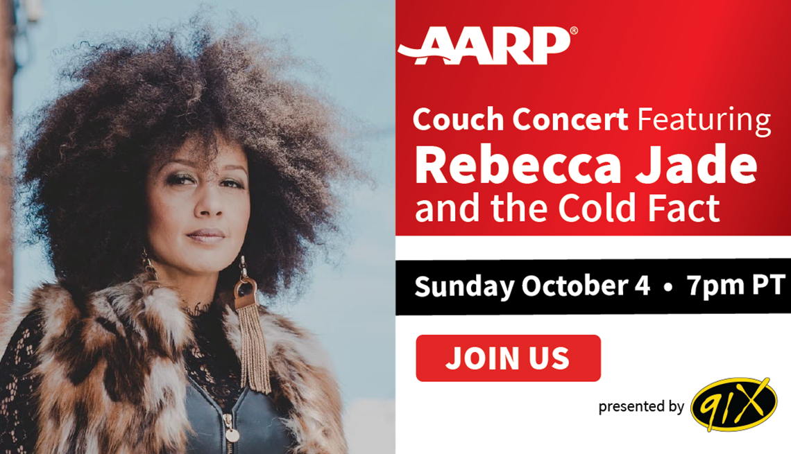 a a r p couch concert featuring rebecca jade and the cold fact sunday october fourth at seven p m pacific time