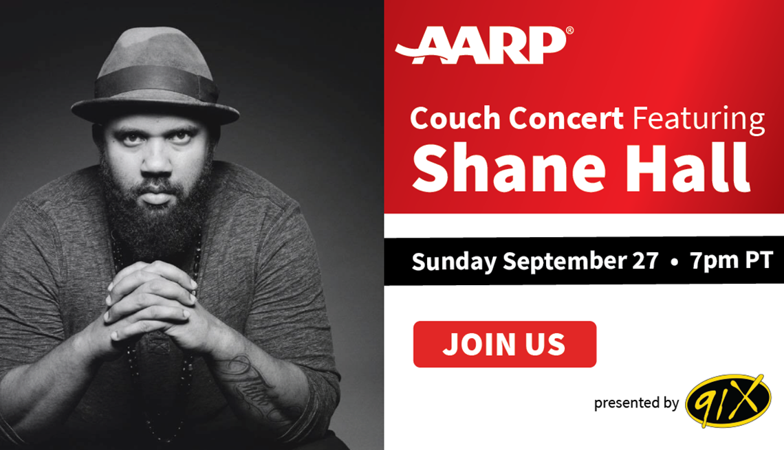 a a r p couch concert featuring shane hall sunday september twenty seven at seven p m pacific time