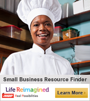 African American female chef in restaurant kitchen: Small Business Resource Finder
