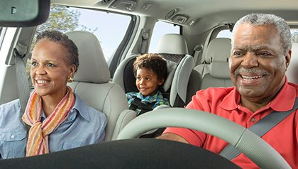 African American family in car
