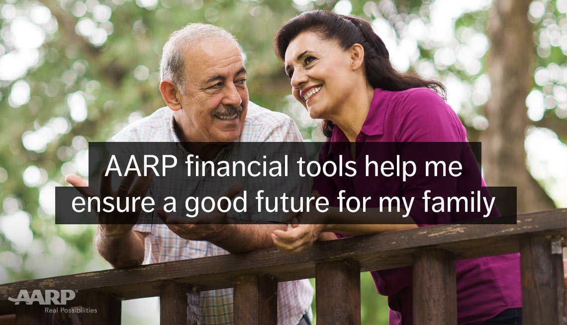 A middle aged hispanic couple smile outdoors with text that reads A A R P financial tools helps me ensure a good future for my family.